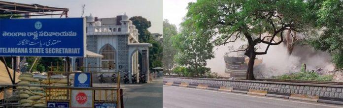 حیدر آباد سکریٹریٹ کے دفتر معتمدی کے قریب واقع مسجد اور دوسری تصویر میں اس کے شہید کئے جانے کا دلدوز منظر