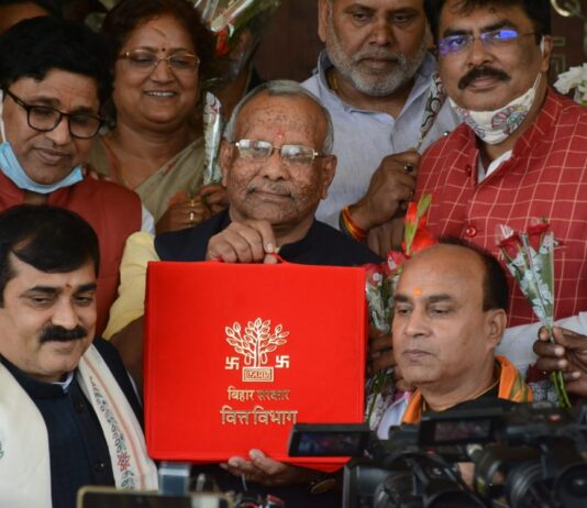 Bihar Deputy Chief Minister Tarkishore Prasad on Monday tabled an annual budget of ₹ 2,18,303 crore for the state.