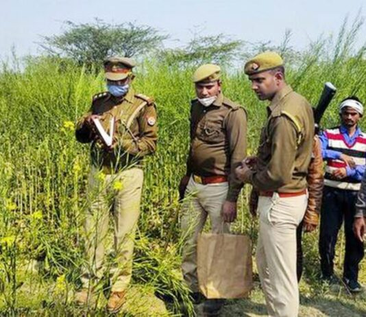 Police personnel investigate at the site where bodies of two minor Dalit girls were found in a field and another in critical condition on Wednesday evening, near Baburaha village in Unnao district, Thursday, Feb. 18, 2021.